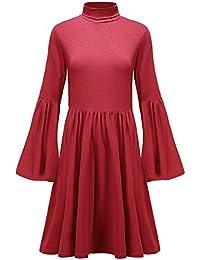 6364eabc4eac Summer Mae Damen Trompete Ärmel Kleid Kurz Langarm Minikleid mit Hohem  Kragen