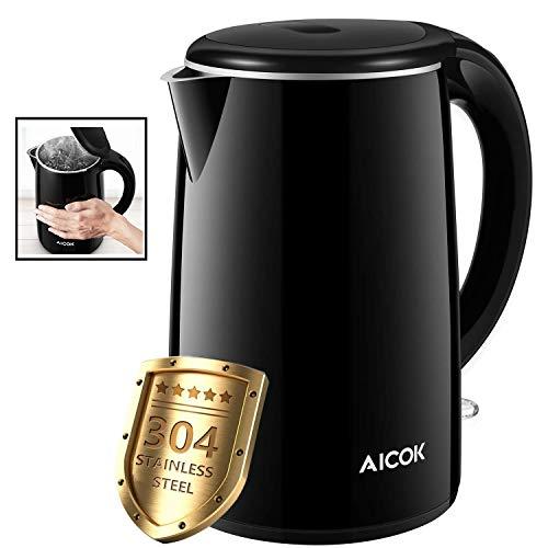 Bollitore Elettrico Aicok 1.7L Bollitori In Acciaio Inox Bollitore Elettrico Doppia Parete Arresto Automatico con Protezione Secco BPA Free