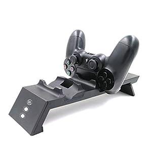 YUN GAME@ PS4 Controller Ladestation, Playstation DualShock 4 Ladestation Ladegerät Ständer mit Zwei USB Kabel Zubehörset für Playstation 4 / PS4 Slim / PS4 Pro Wireless Controller