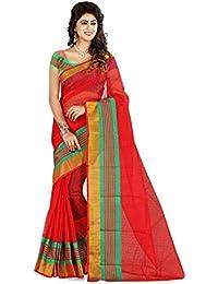 18more Women's Cotton Silk Jari Pallu Saree With Blouse Piece Material