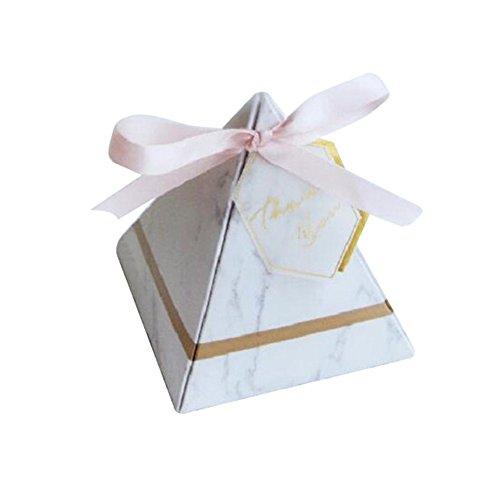 100 Stücke Pralinenschachtel,Neue Europa Dreieckige Pyramide Stil Pralinenschachtel Hochzeit Gefälligkeiten Partei Liefert Papier Geschenkboxen mit Karte und Band für Kinder Geburtstag(L)