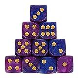 AMhomely 10PC Würfelset sortierten Transparente Farbe mit je 16mm d6 Standardwürfel,Würfel Spielwürfel Spiel Spielezubehör Knobeln Augen Cube transparent bunt (D)
