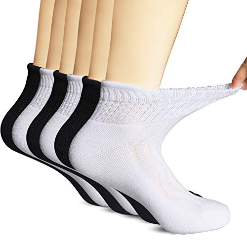 Lot de 6 paires de chaussettes diabétiques en bambou pour absorber l'humidité 3Black3White9-11