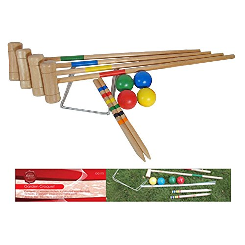 4 Player Wooden Croquet Set - Traditional Outdoor Family Garden Game
