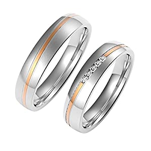 Amtier Paar Ringe Eheringe Edelstahlringe für Damen Herren mit Geschenkbox