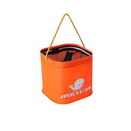 JoyFan Seau de pêche Pliable résistant à l'usure en EVA épais pour équipement de pêche 20CM Without Handle Orange