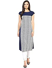Mastani Kreation's Nevy Blue Animal Print Crepe Fully Stitched Tunic Top