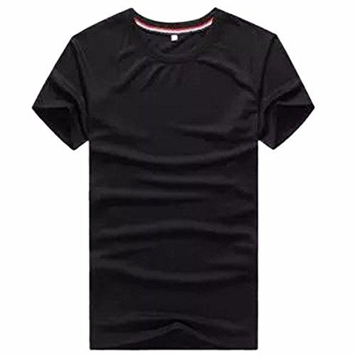 QIYUN.Z Männer Beiläufige Normallacksport-Kurzschlusshülse T-Shirts Schwarz