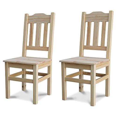 Elean 2 er Set Kuechenstuhl (HSL-02) Holzstuhl Esszimmerstuhl Stuhl mit Lehne Kiefer massiv vollholz zusammengebaut Verschiedene Farbvarianten Neu (Geölt)