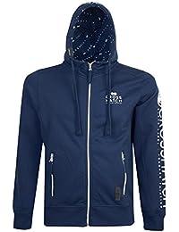 Mens Crosshatch Hoodie Zipped Through Hooded Top Casual Sweatshirt Fleece Jumper
