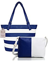 Mammon Women's Letherette Multi-Color Handbag And Sling Bag Combo