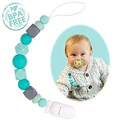 Idea Regalo - Catenella e Clip Succhietto Clip Ciuccio Silicone Giocattoli di Rilievo per Perline Dentizione per ragazzi o ragazze Teether, Regali per Baby Shower (Neonati)