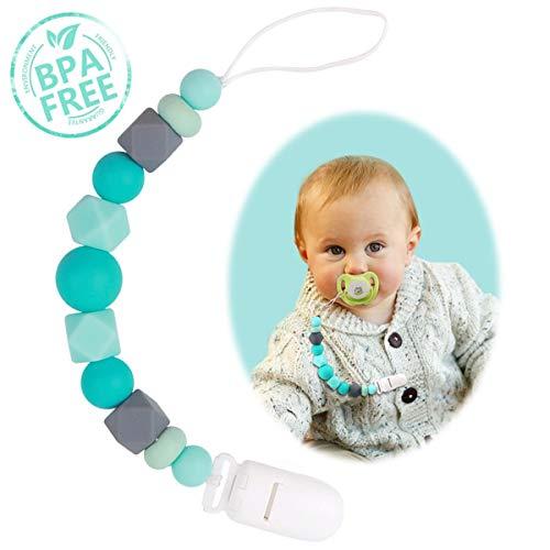 Schnullerkette Baby Jungen oder Mädchen Zahnen Silikon Selber Clip Blau für Machen Neugeborene, Baby Dusche oder Tauf Geschenk, Kinders Geburtstagsgeschenke (Clip ohne Beißring)