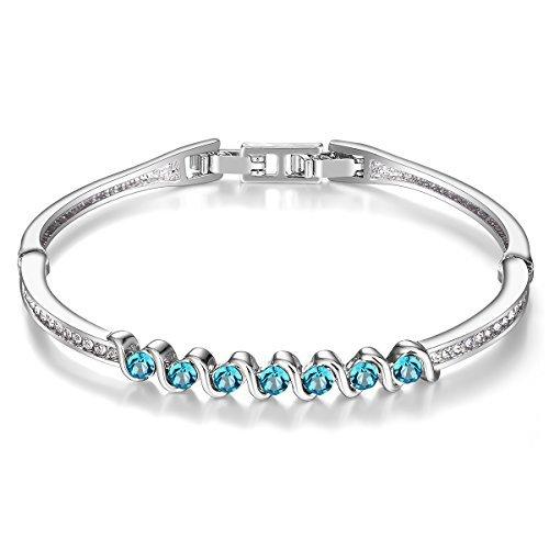 Menton Ezil Liebe Encounter Swarovski Kristalle Frauen Armbänder weiß Gold Silber Armreif verstellbar Scharnier Damen Schmuck Geschenke (Blau 1) -