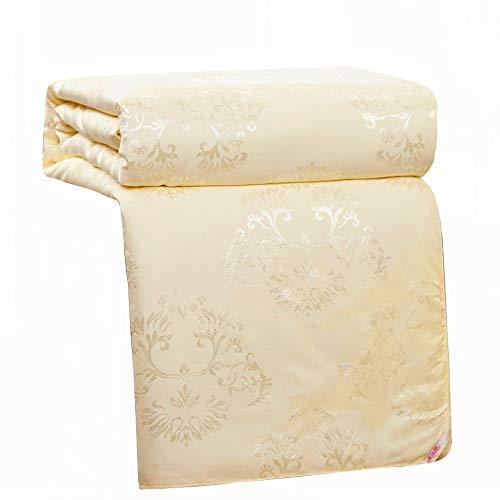 zyl Cotton High-End Satin Jacquard Stoff 100% Natürliche Mulberry Silk Gefüllt Tröster Seide Quilt,Yellow-150 * 200cm(3kg)