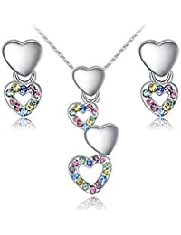 Carina Designer Heart 18K White Gold Plated Swarovski Elements Crystal Pendant And Earring Set With Chain For...