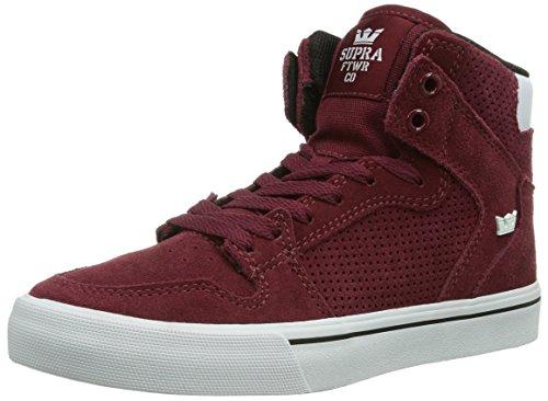 Supra VAIDER Unisex-Erwachsene Hohe Sneakers Rot (BURGUNDY - WHITE   BRG)
