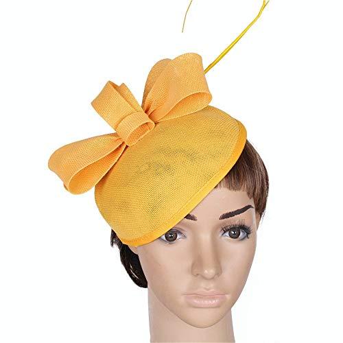 Styling Zubehör Frauen Fascinator Hut Feder Mesh Cocktail Tea Party Hut Blume Derby Hut Clip Spiel Royal Ascot für Mädchen und Frauen (Farbe: Schwarz)