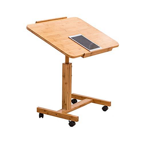 QULONG Bambus Mobile Laptop PC Tisch Schreibtisch Ständer Metall Für Schlafsofa Neben Tisch Auf Rädern Höhenverstellbar Über Bett Tisch Workstation Für Schlafzimmer Wohnheim,70x40cm (Couchtisch Rädern Auf)