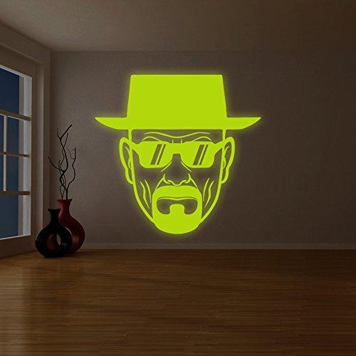 (240x 240cm) Glowing Vinyl Wand Aufkleber Breaking Bad Heisenberg mit Sonnenbrille/Glow in Dark Walter White Aufkleber/Leuchtziffern Wandbild + Gratis Aufkleber Geschenk macht.