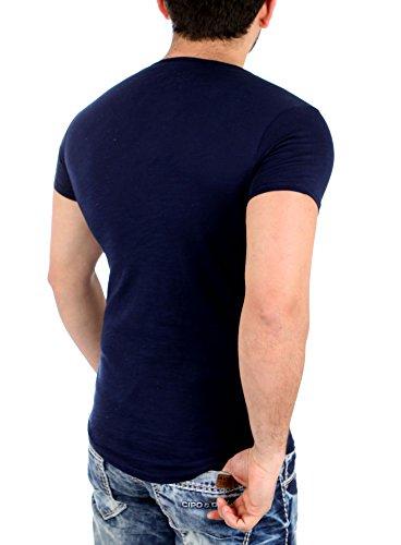 ReRock T-Shirt Herren Casual Deep Neck Kurzarm Shirt RR-1944 Navyblau