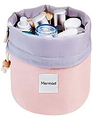 Mermaid Reise Kulturtasche Kosmetiktasche Wasserdichte Kosmetikbeutel Kordelzug Make up Kulturtasche Handtasche Aktentasche + Mini Beutel + Transparente PVC-Beutel Bürste (Rosa)
