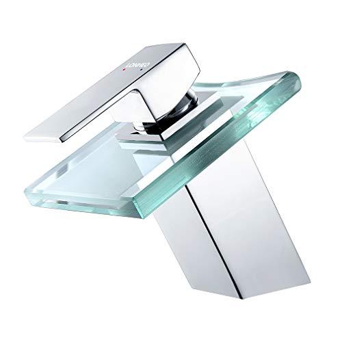 Lonheo Chrom Bad Wasserhahn Wasserfall Waschbecken Armatur Glas Waschtischarmatur eckiger Auslauf ohne LED-Beleuchtung