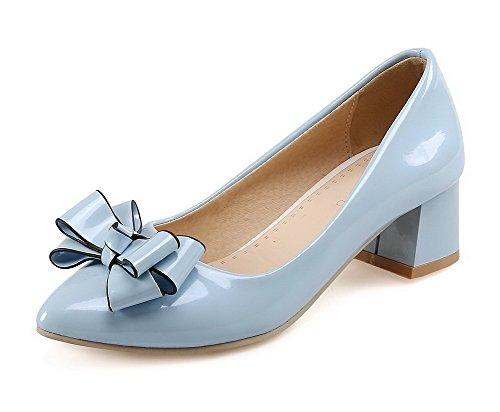 VogueZone009 Damen Ziehen Auf Mittler Absatz Pu Leder Rein Spitz Zehe Pumps Schuhe Blau