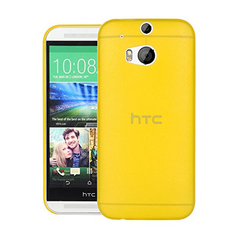 Turtle Back Cover For HTC One (M8) dual sim - Slim Back Case Cover (Yellow)