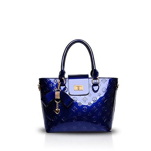 Nicole&Doris Nuove donne / signore di spalla di cuoio della borsa del Tote PU brevetto in rilievo di alta qualità Blu