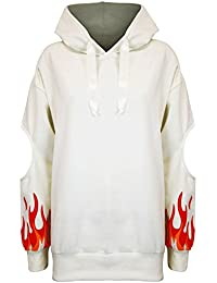 Be Jealous Womens Ladies Fire Cutout Long Sleeve Oversize Fleece Hooded Pullover Sweatshirt UK Size 6-14
