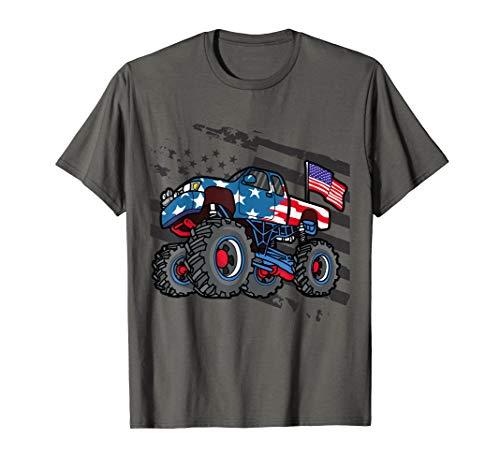 American Flag Trucker- Men Women Boys Monster Truck Racing  T-Shirt