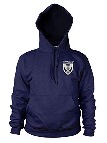 trybull Schottland Rugby Distel Logo bestickt Hoodie Herren 6Nations Hoody Gr. L, navy (Bestickt Rugby-shirts)