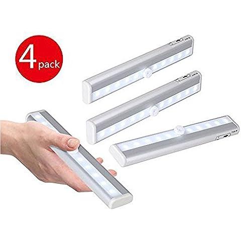 LemonBest® Barra de Luz LED Nocturna inalámbrica con sensor de movimiento Wireless para Armario de Gabinete paquete de 4