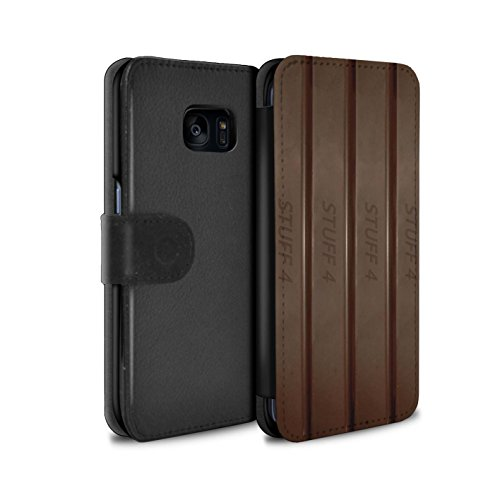 Mobile-edge-schokolade (Stuff4® PU-Leder Hülle/Case/Tasche/Cover für Samsung Galaxy S7 Edge/G935 / Finger/Stöcke Muster/Schokolade Kollektion)