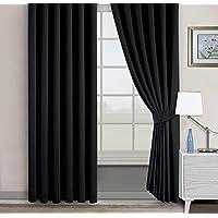 Belle Cose Kullanıma Hazır Blackout Karartma Termal Siyah Fon Perde-Siyah-150X260 cm
