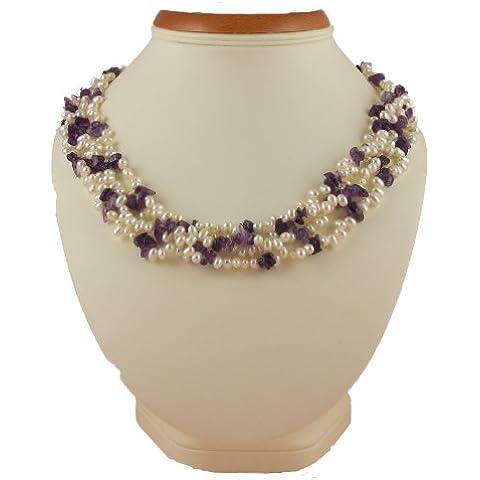 StunningBoutique ametista e perle d'acqua dolce coltivate, colore: Bianco, Elegante collana in perle con chiusura in argento puro, spediti in una graziosa confezione regalo da donna
