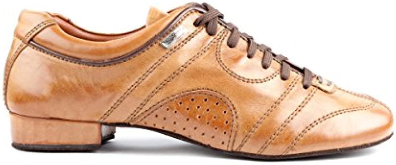 PortDance Hombres Zapatos de Baile/Dance Sneakers PD Casual - Cuero Camel - Suela de Ante  -