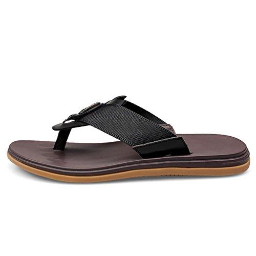 SHANGXIAN Zehen des Summer Beach Herren Flip Flops Leder Casual Sandalen Black