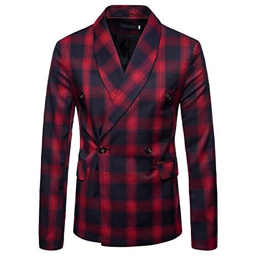 Huacat Herren Anzugjacke Slim Casual Slim fit Formale Mantel Mode kariert Zweireihige Knopfleiste Anzug