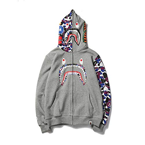 bape Hoodie Boys|Fashion BAPE Half Camouflage Shark Head Zip Sweater Black Men Boys - Bape Camo Hoodie