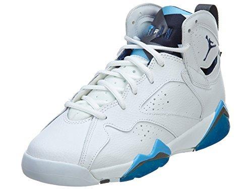 Nike Jungen Air Jordan 7 Retro BG Basketballschuhe, Blanco/Azul (Wht/Frnch BL-Unvrsty BL-Flnt G), 35 1/2 EU (Air Nike Stiefel Jordan)