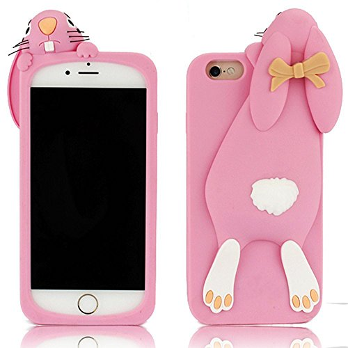 iPhone 7 Coque Gel TPU Silicone Etui Intégrale Transparent Case pour iPhone 7 / iPhone 8 4.7 Pouces Housse Protection Full Silicone Souple Case,Vandot iPhone 7 / iPhone 8 Ultra Mince Fine Slim Leger T Lapin-Rose
