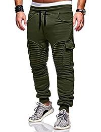 ZODOF Pantalones De CháNdal De Rayas Casual Retro De Moda Pantalones De CháNdal De Los Hombres