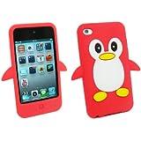 Kit Me Out FR Coque aspect velouté silicone pour Apple iPod Touch 4 (4e génération) - rouge, blanc motif pingouin mignon