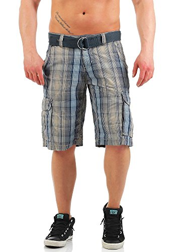 Timezone Herren Shorts Loose Maguire Cargo Shorts Incl. Belt blue beige check
