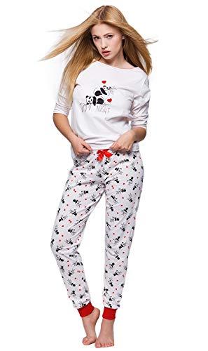 Sensis Edler Baumwoll-Pyjama Hausanzug aus schickem Oberteil und toller Hose, Made in EU (S (36), Panda)