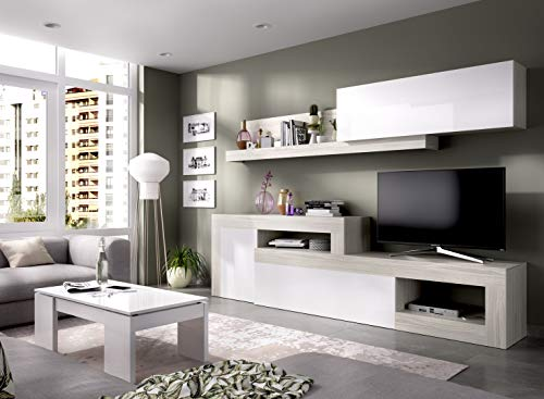 LIQUIDATODO - Composición de salon modular 260 cm moderna y barata en gris y blanco brillo