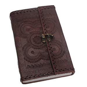 Indra Extra Large Stitched and Embossed Leather Journal with clasp 135 x 215 mm