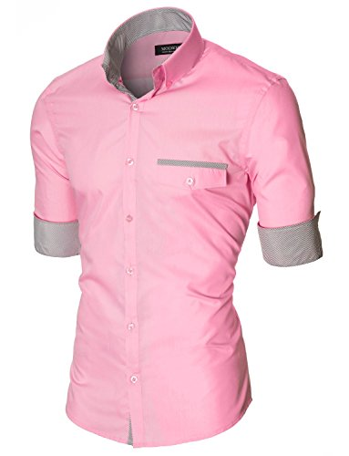 Herren Hemd Slim Fit Freizeithemd Langarm von MODERNO (MOD1413LS) MOD1413LS-Rosa